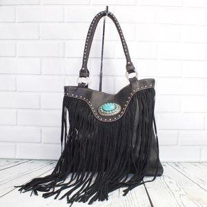 Montana West Trinity Ranch Frill Turquoise Handbag